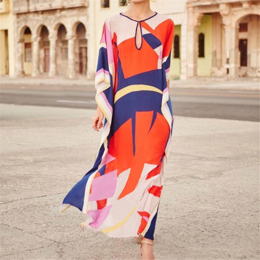 Fashion Round Collar Digital Printed Loose Vacation Dress