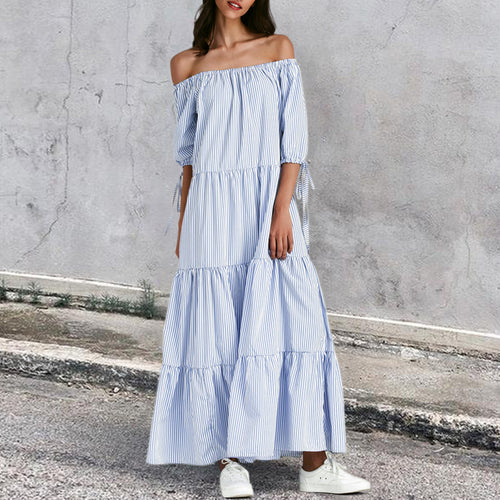 Fashion Elegant Off Shoulder Stripe Loosen Maxi Dress