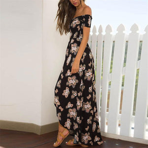 Sexy Off Shoulder Floral Printed Vacation Dress