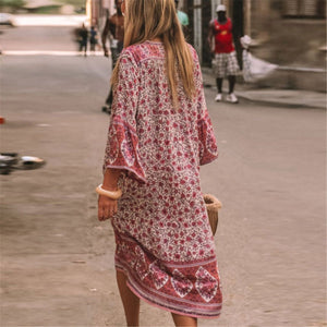 Bohemia Style V Collar Hollow Loose Vacation Dress