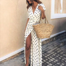 Load image into Gallery viewer, Chic Deep V Collar Polka Dot Printed Strappy Vacation Dress