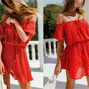 Sweet Off Shoulder Defined Waist Printed Vacation Dress