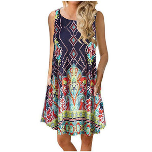 Bohemia Style Round Collar Sleeveless Loose Vacation Dress