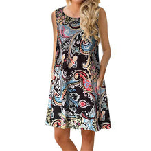 Load image into Gallery viewer, Bohemia Style Round Collar Sleeveless Loose Vacation Dress