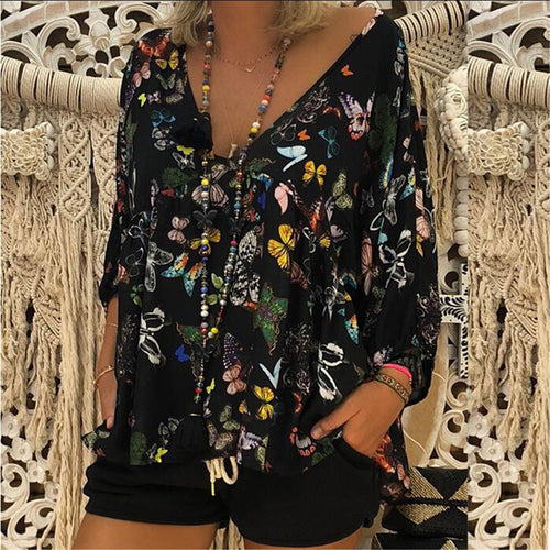 Casual V Collar Floral Printed Loose Top