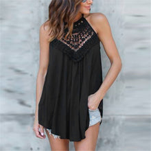 Load image into Gallery viewer, Sexy Halter Plain Lace Split Joint Sleeveless Top