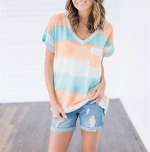 Load image into Gallery viewer, Loose Casual V-Neck Striped Print T-Shirt