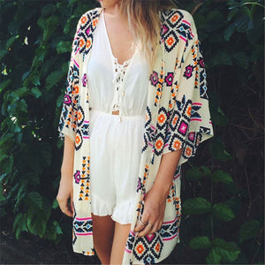 Casual Loose Priinted Beach Long Cardigan