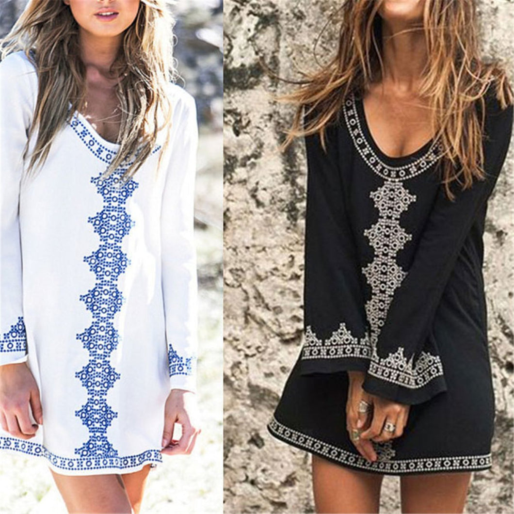 Fashion V Collar Cotton Printed Loose Vacation Dress