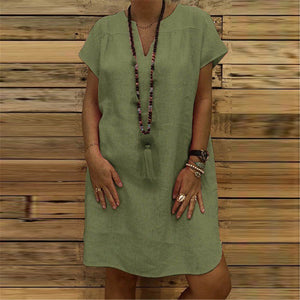 Casual V Collar Plain  Loose Shift Dress