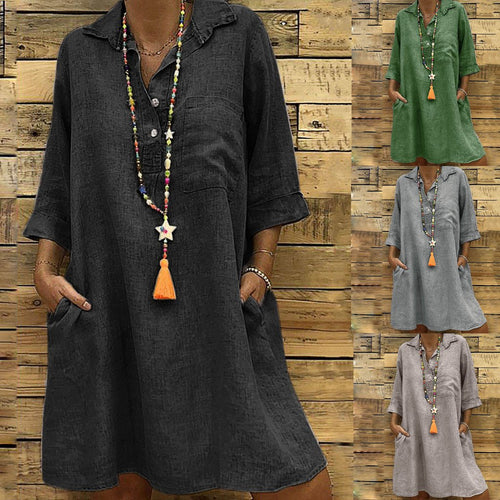 Fashion Lapel Plain Loose Vacation Dress