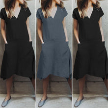 Load image into Gallery viewer, Casual V Collar Plain Loose Packets Shift Dress