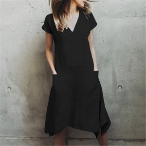 Casual V Collar Plain Loose Packets Shift Dress
