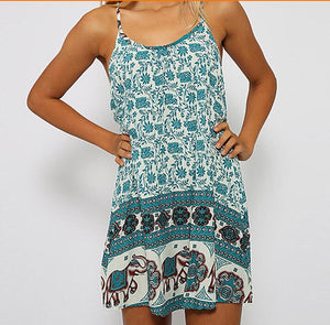 Bohemia Style Floral Printed Vacation Dress