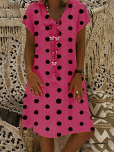 Load image into Gallery viewer, Round Neck Polka Dots Printed Short Sleeve Casual Dresses