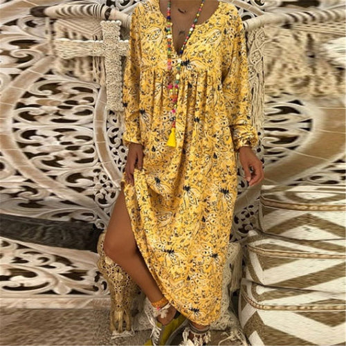 2019 Bohemian Women V Collar Beach Floral Printed Loose Vacation Long Sleeve Maxi Dress