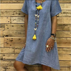 Daily Plain Round Collar Loose Shift Dress