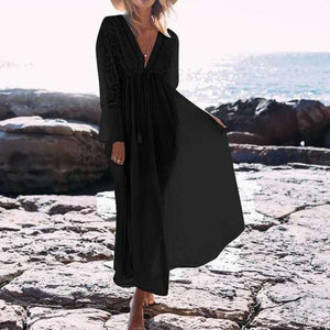 Sexy Deep V Collar Plain Lace Border Vacation Dress