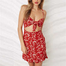 Load image into Gallery viewer, Sexy Floral Printed Slim Hollow Mini Vacation Dress
