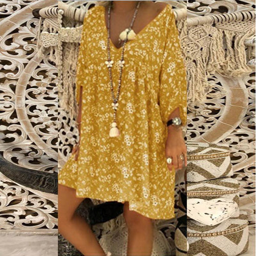 Fashion V Collar Printed Loose Dress