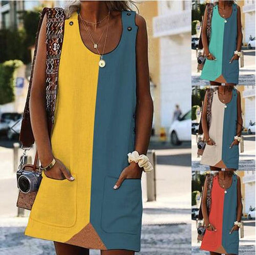 Fashion Round Collar Plain Color Block Loose Shift Dress