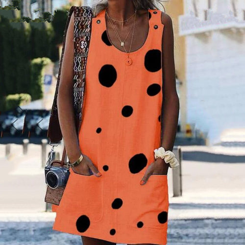 Summer Polka Dot Printed Loose Vacation Dress