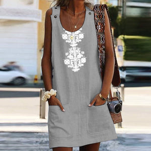 Casual Round Collar Printed Loose Vacation Dress