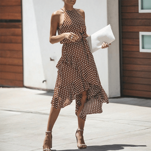 Spring And Summer Retro Irregular Dresses With Wave Points