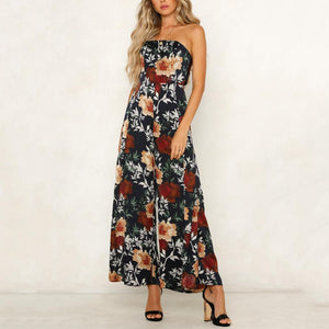 Spring And Summer New Sexy Shoulder-Exposed Printed Couplet Pants