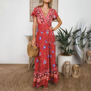 2019 Behemia Style Floral Printed Vacation Dress