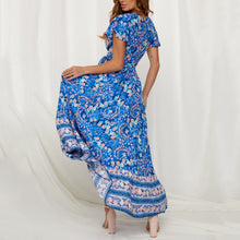 Load image into Gallery viewer, V-Neck Short-Sleeved Printed High-Waist Slim Vacation Dress