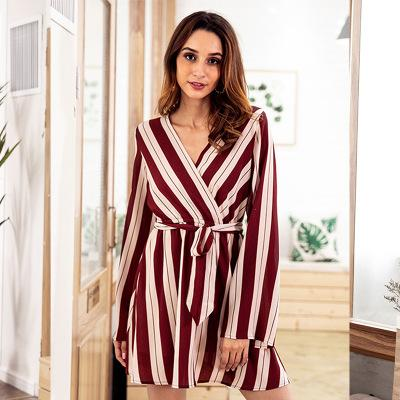 Long-Sleeved V-Neck Dress In Striped Printed