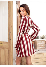 Load image into Gallery viewer, Long-Sleeved V-Neck Dress In Striped Printed