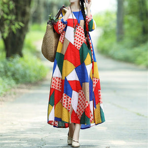 Casual Round Collar Color Block Loose Vacation Dress