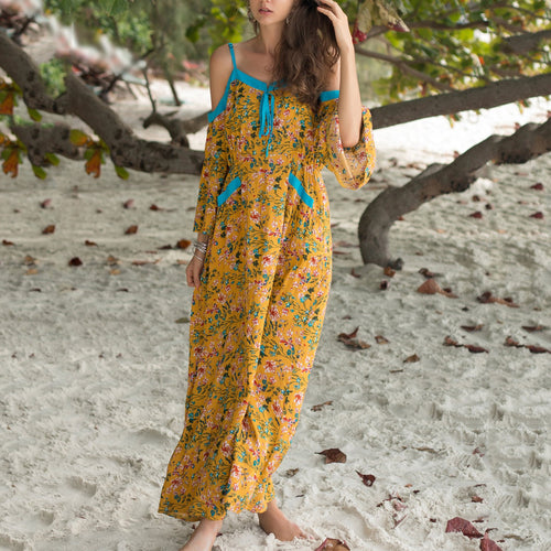 Summer Floral Printed Loose Defined Wiats Vacation Dress