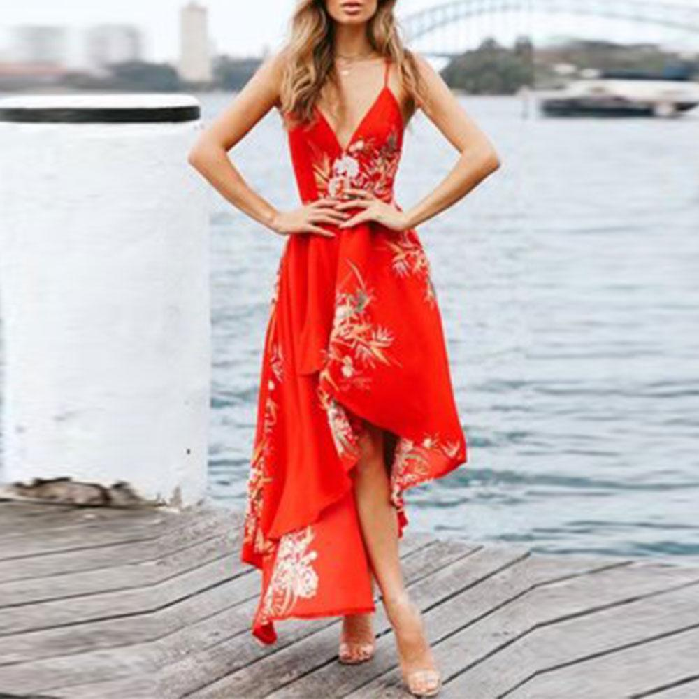 Sexy V-Neck Backless Vacation Printed Dress