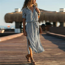 Load image into Gallery viewer, Strip Waistband  Shirt Maxi Dress