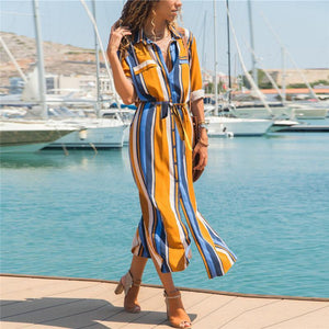 Strip Waistband  Shirt Maxi Dress