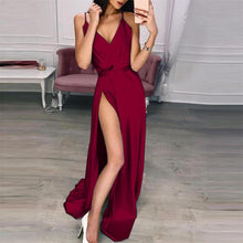 Load image into Gallery viewer, Sexy Deep V Collar Plain Defined Waist Evening Dress