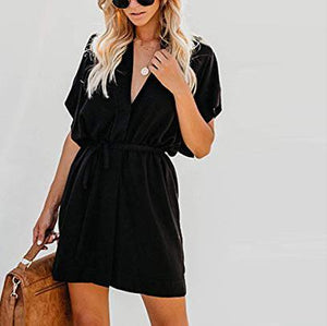 Fashion Wild V-Neck Short-Sleeved Button Lacing Female Dress