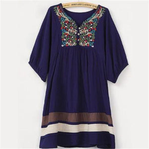 Casual Loose Color Block Embroidered Dress