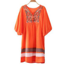 Load image into Gallery viewer, Casual Loose Color Block Embroidered Dress