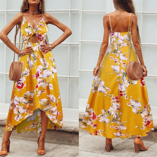 Summer Floral Printed Strappy  Asymmetrical Vacation Dress
