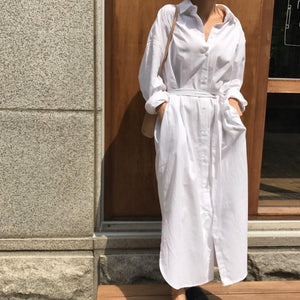 Loose Casual Solid Color Shirt Dress