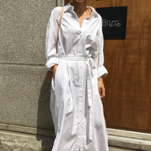 Load image into Gallery viewer, Loose Casual Solid Color Shirt Dress