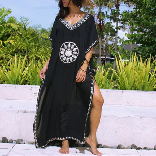 Casual V-Neck Printed Vacation Maxi Dress