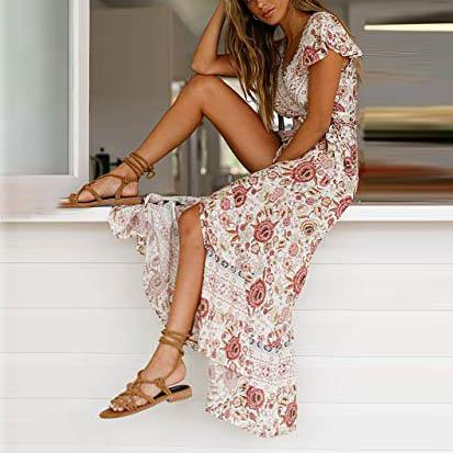 Fashion Wrap Waist With Bohemian Positioning Print Dress
