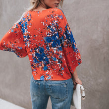 Load image into Gallery viewer, Summer V Collar Floral Printed Loose Chiffon Blouse