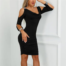 Load image into Gallery viewer, V Collar Plain Tight Dress