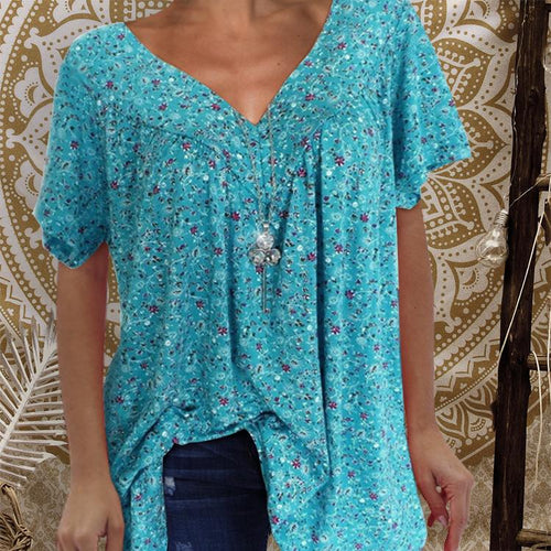 V-Neck Loose Short-Sleeved Printed T-Shirt
